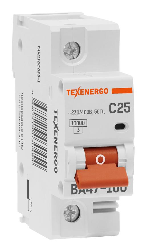Автоматический выключатель ВА 47100 1п 25А C 10кА TAM110C025-1 Texenergo