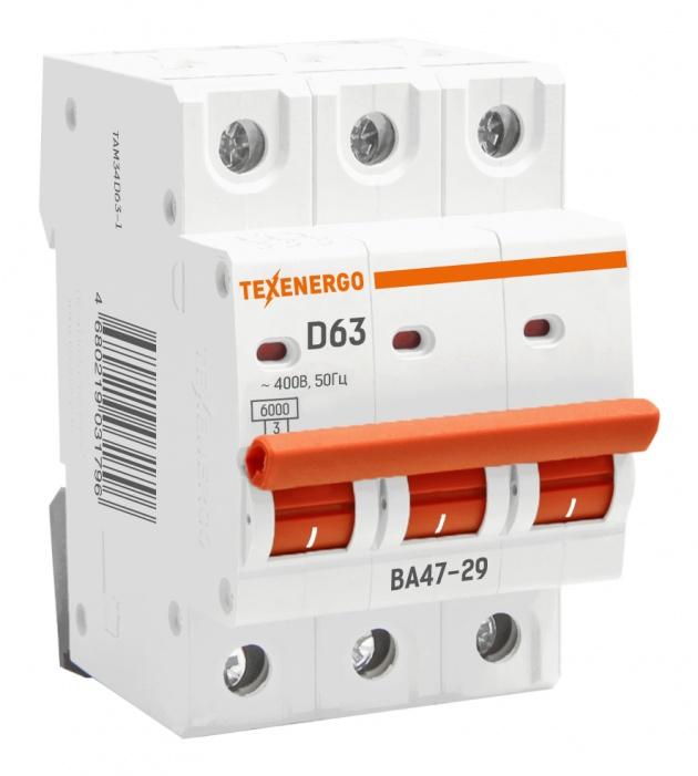 Автоматический выключатель ВА 4729 3п 63А D 6кА TAM34D63-1 Texenergo