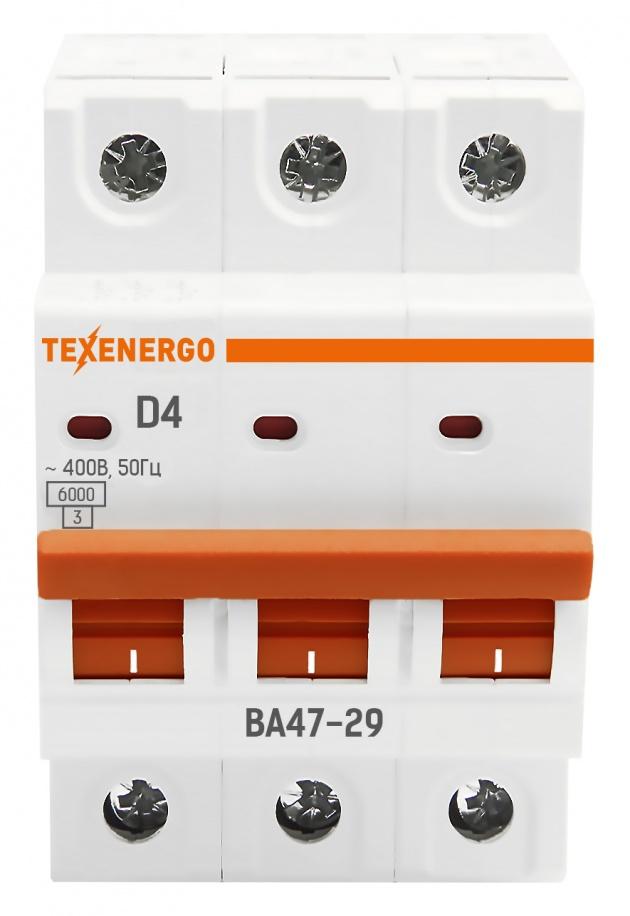 Автоматический выключатель ВА 4729 3п 4А 6кА х-ка D TAM34D04-1 Texenergo