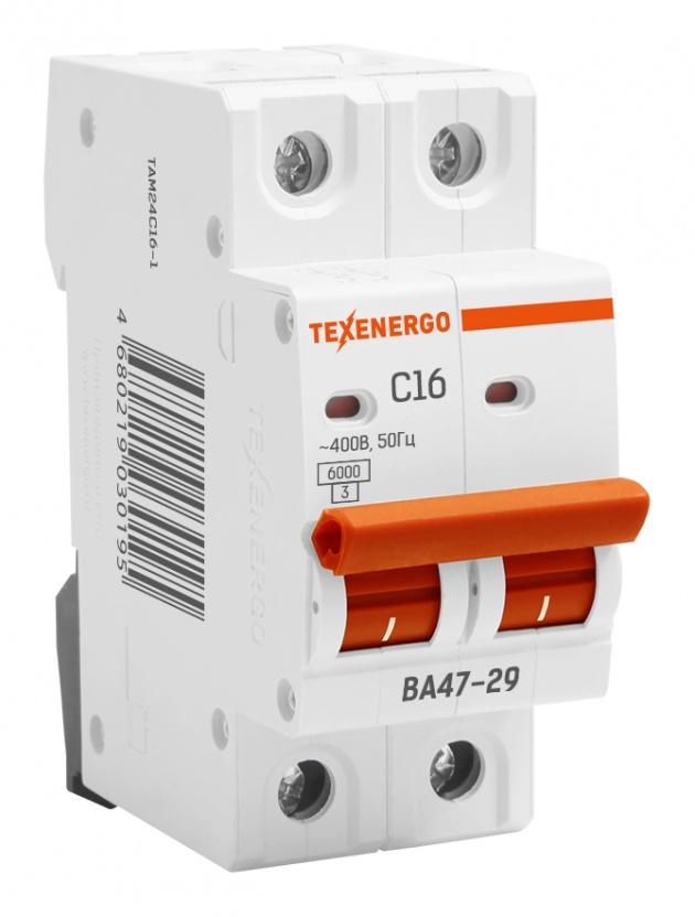 Автоматический выключатель ВА 4729 2п 16А С 6кА TAM24C16-1 Texenergo