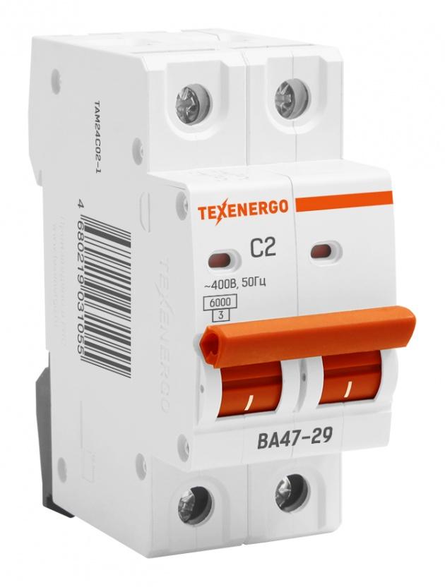 Автоматический выключатель ВА 4729 2п 2А С 6кА TAM24C02-1 Texenergo