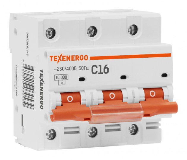 Автоматический выключатель ВА 47100 3п 16А C 10кА TAM310C016-1 Texenergo