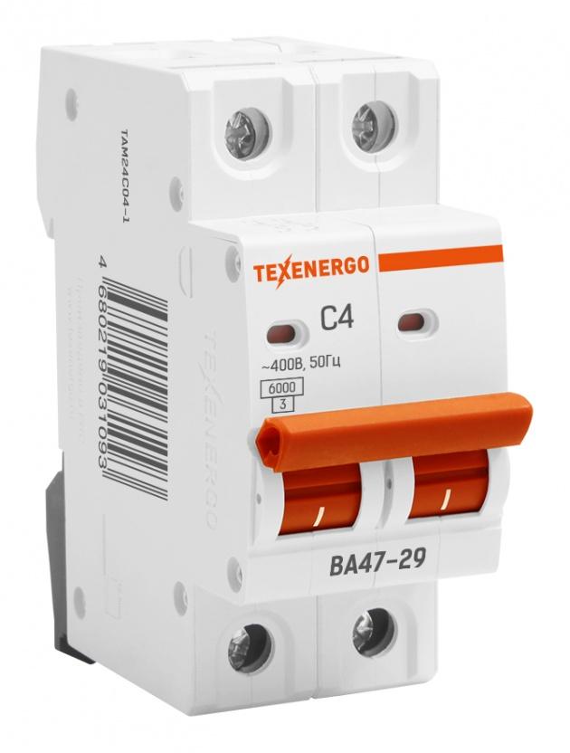 Автоматический выключатель ВА 4729 2п 4А С 6кА TAM24C04-1 Texenergo