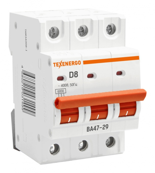Автоматический выключатель ВА 4729 3п 8А 6кА х-ка D TAM34D08-1 Texenergo