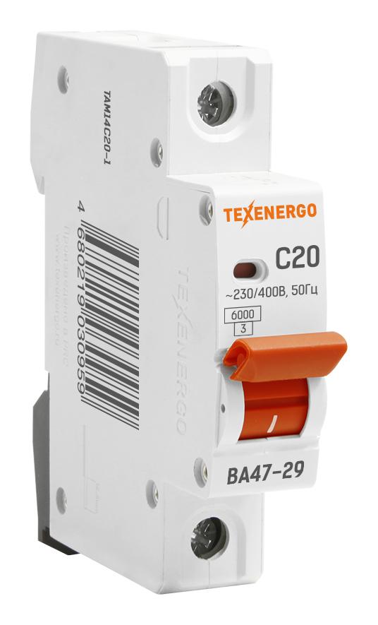 Автоматический выключатель ВА 4729 1п 20А С 6кА TAM14C20-1 Texenergo