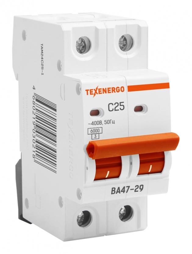 Автоматический выключатель ВА 4729 2п 25А С 6кА TAM24C25-1 Texenergo