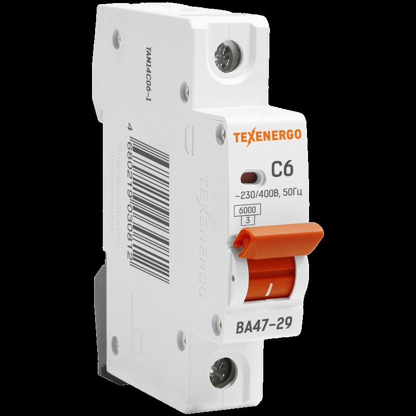 Автоматический выключатель ВА 4729 1п 6А D 6кА TAM14D06-1 Texenergo