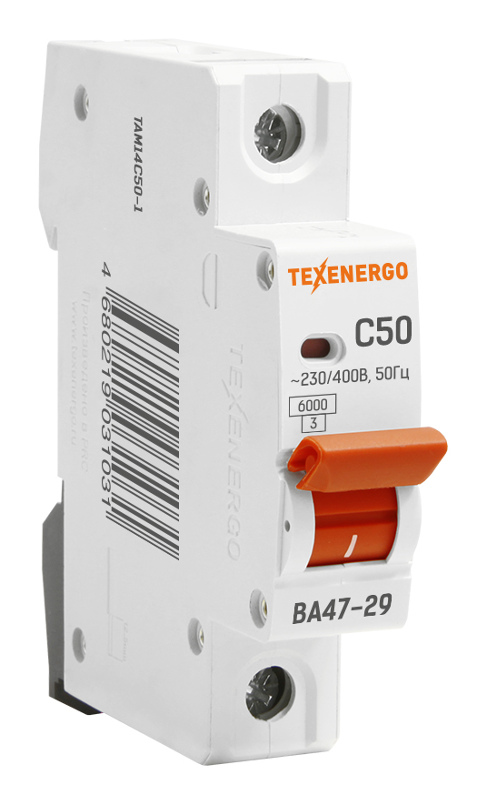 Автоматический выключатель ВА 4729 1п 50А С 6кА TAM14C50-1 Texenergo