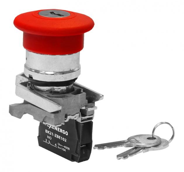 Выключатель кнопочный ВК21-ВS8445 1р красный гриб с фиксацией, с ключом (возврат поворотом) аналог КЕ 211 B21-BS8445 Texenergo