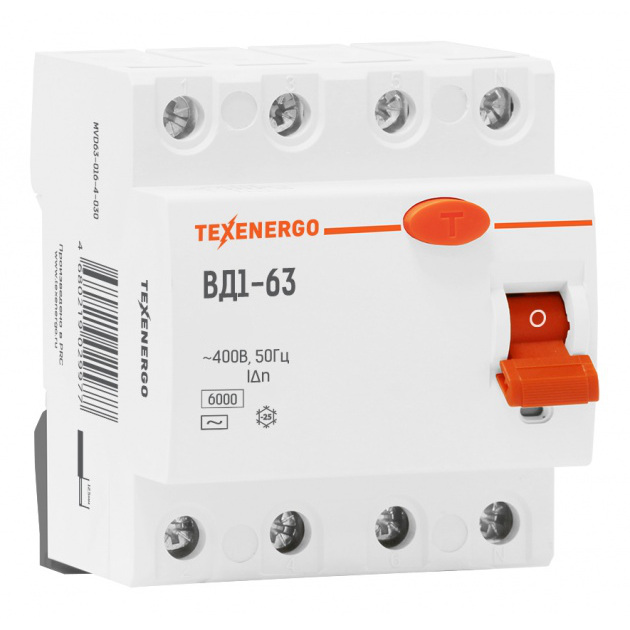 УЗО ВД1-63 4п 63A/30мА AC 0,63/6кА MVD63-063-4-030 Texenergo