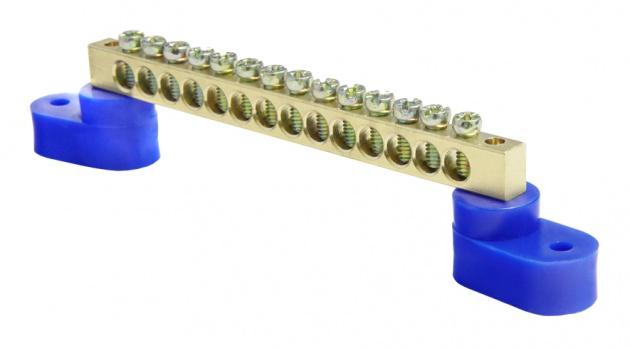 Шина нулевая 14/2 6х9 мм (с двумя угловыми синими изоляторами) NN2-69-14-B2 Texenergo