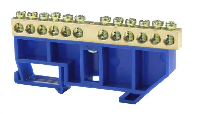 Шина нулевая 12/1 6х9 мм (с синим DIN-изолятором) NN-69-12-DB Texenergo