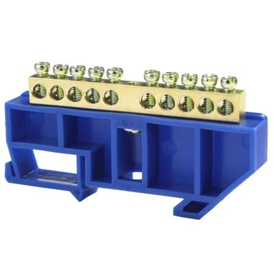 Шина нулевая 10/1 6х9 мм (с синим DIN-изолятором) NN-69-10-DB Texenergo