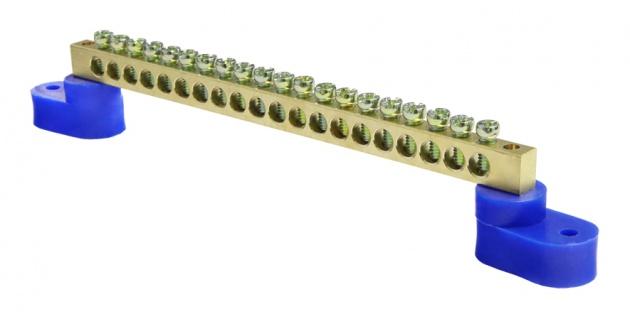 Шина нулевая 20/2 6х9 мм (с двумя угловыми синими изоляторами) NN2-69-20-B2 Texenergo