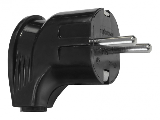 Вилка (евростандарт) 250В, 16А угловая черная B16-002B Texenergo