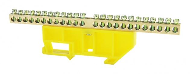 Шина нулевая 24/1 6х9 мм (с жёлтым DIN-изолятором) NN-69-24-DY Texenergo