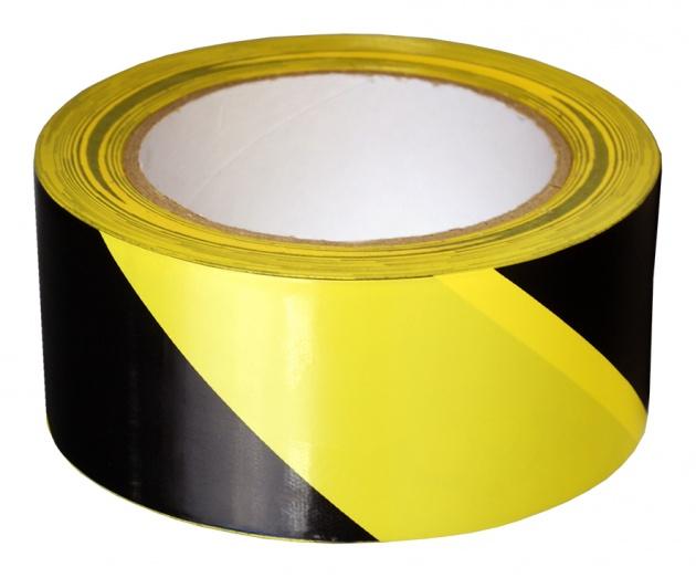 Лента оградительная ПВХ жёлто-чёрная 50 м (липкая) PVCK52 Texenergo