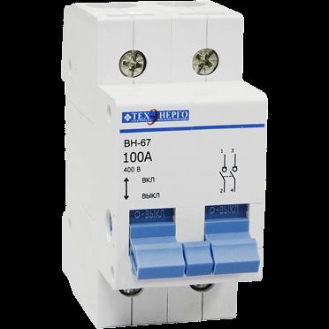 Выключатель нагрузки ВН-67 2р 100А MVN67-2-100 Texenergo