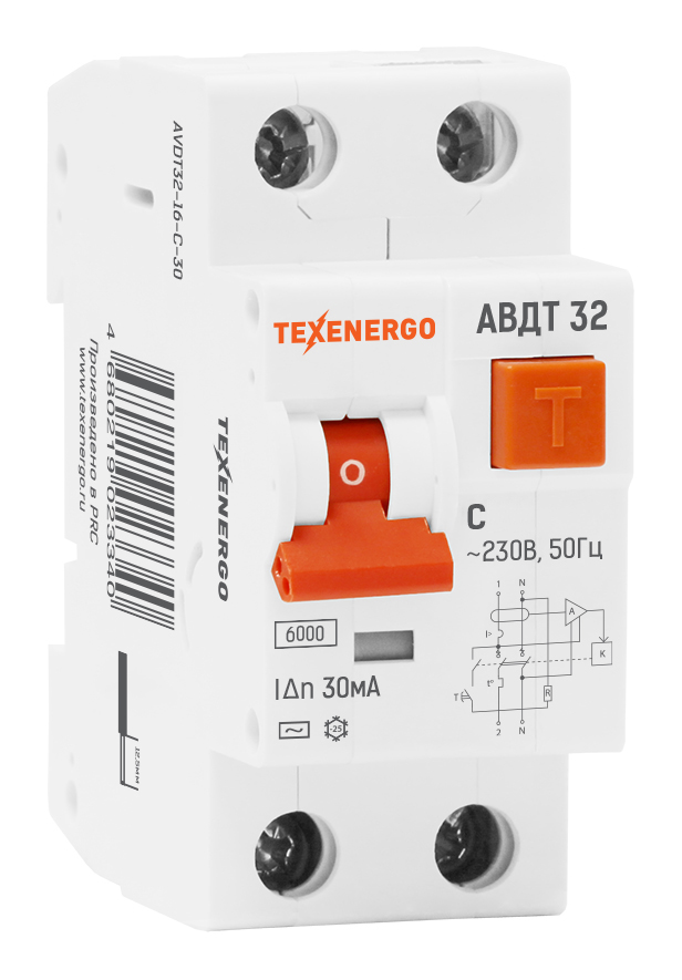 Дифавтомат АВДТ 32 1п+N 32A/30мА AC C 6кА AVDT32-32-C-30 Texenergo