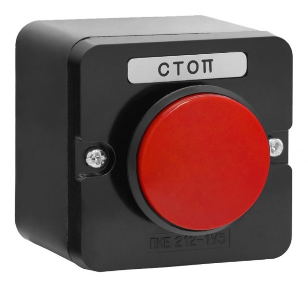 Пост кнопочный ПКЕ 212-1 Красный Гриб пластиковый PKE2121GR-P Texenergo