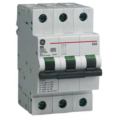 Автоматический выключатель G63 3п 16А х-ка С 6кА 674653 General Electric