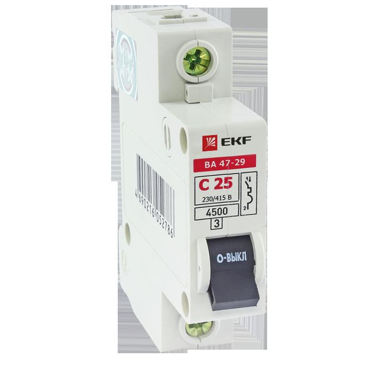 Выключатель автоматический однополюсный 63А С ВА47-29 4.5кА (mcb4729-1-63C) mcb4729-1-63C EKF