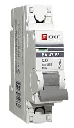 Выключатель автоматический однополюсный 63А С ВА47-63 4.5кА PROxima (mcb4763-1-63C-pro) mcb4763-1-63C-pro EKF