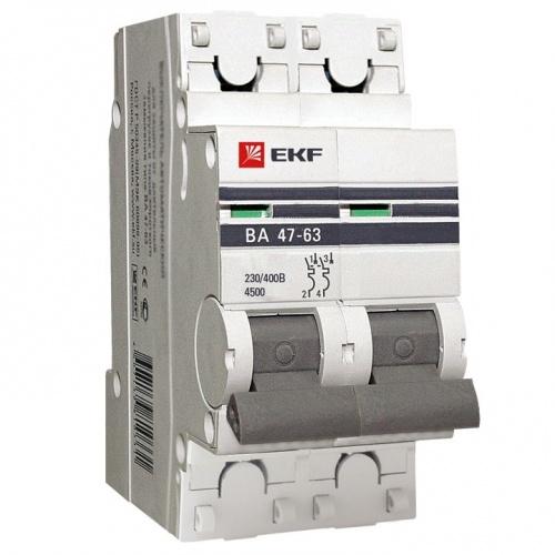 Выключатель автоматический двухполюсный 5А С ВА47-63 4.5кА PROxima (mcb4763-2-05C-pro) mcb4763-2-05C-pro EKF