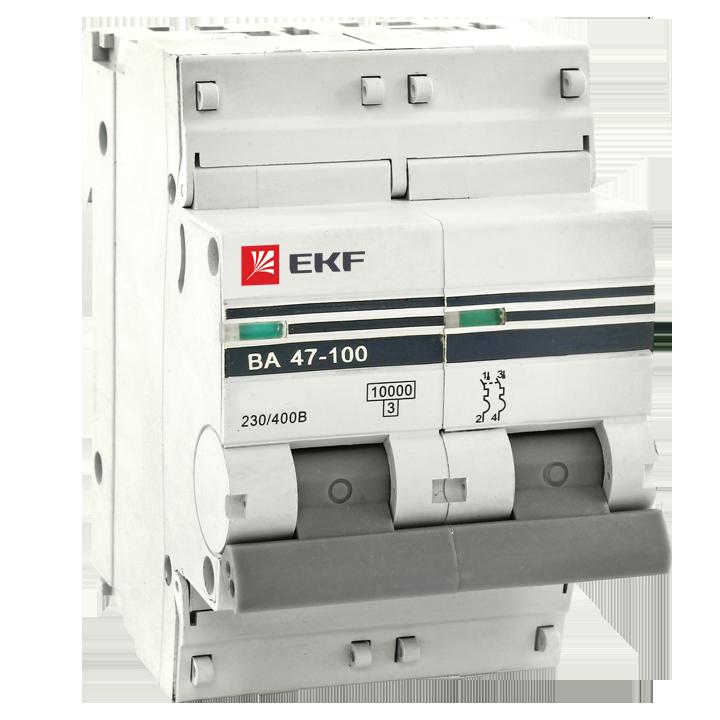 Автоматический выключатель ВА 47-100 2P 80А (D) 10kA EKF PROxima (mcb47100-2-80D-pro) mcb47100-2-80D-pro EKF