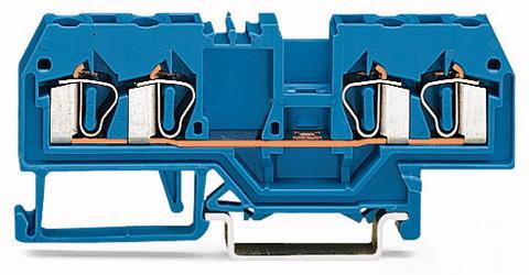 Зажим клеммный проходной 75мм размер ячейки 5мм на DIN-рейку 1 уровень сечение провода 2.500мм? 20А 800В термопласт Wago 280-834 Wago