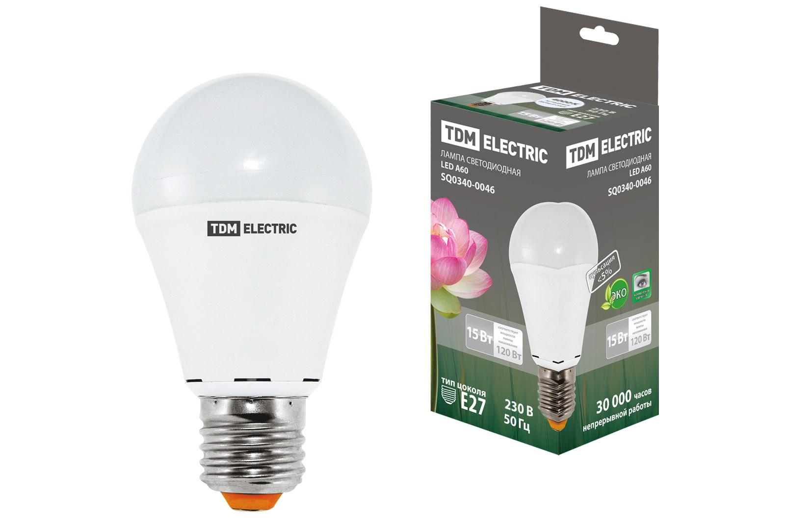 Лампа светодиодная А60 - 15 Вт-220 В -4000 К–E27 TDM SQ0340-0046 TDM Electric