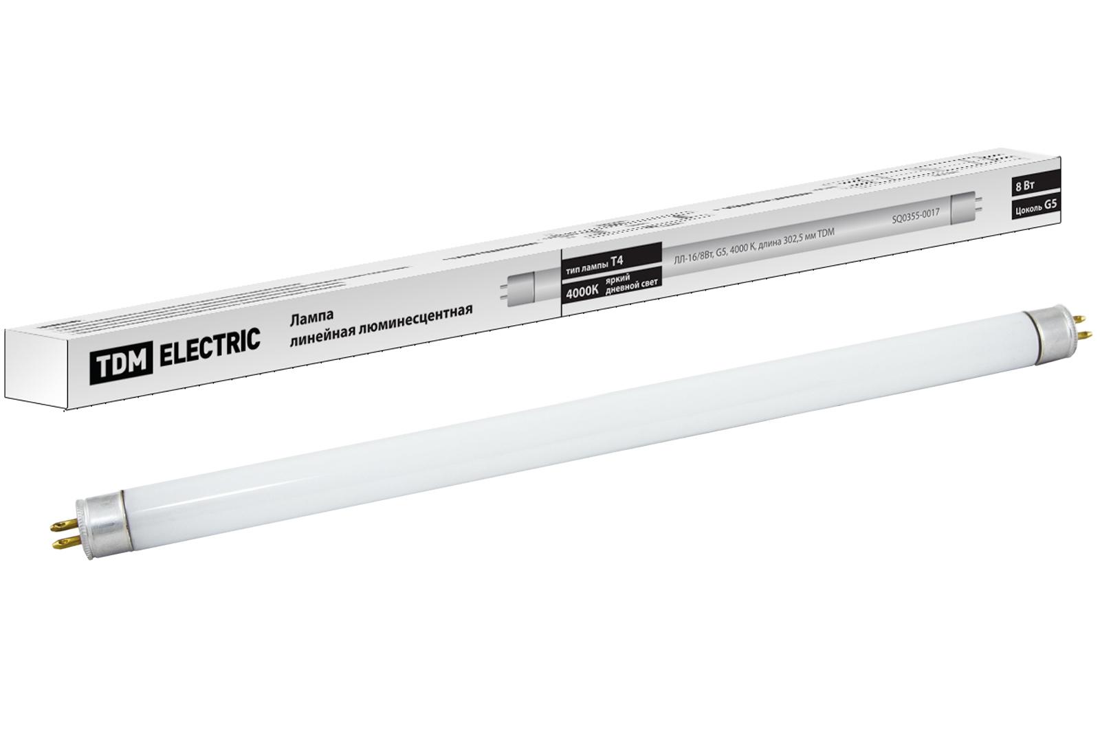 Лампа люминесцентная линейная двухцокольная ЛЛ-16/8 Вт, T5/G5, 4000 К, длина 302,5мм TDM SQ0355-0017 TDM Electric