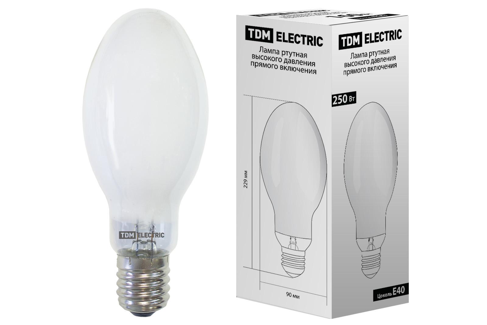 Лампа ртутная высокого давления прямого включения ДРВ 250 Вт Е40 TDM SQ0325-0020 TDM Electric