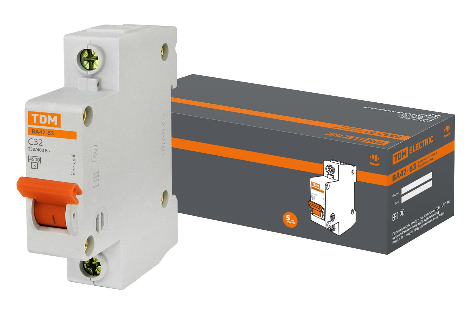 Авт. выкл.ВА47-63 1Р 32А 4,5кА х-ка С TDM SQ0218-0006 TDM Electric
