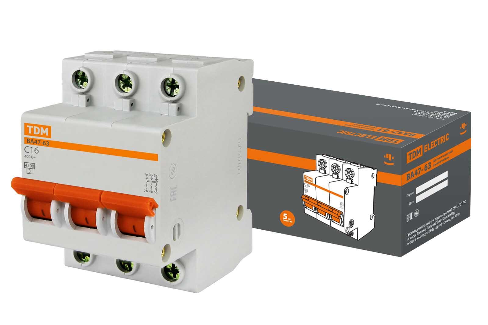 Авт. выкл.ВА47-63 3Р 16А 4,5кА х-ка С TDM SQ0218-0019 TDM Electric