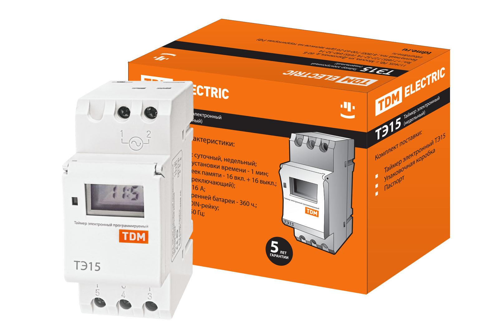 Таймер электронный на din-рейку ТЭ15-1мин/7дн-16on/off-16А-DIN TDM SQ1503-0005 TDM Electric