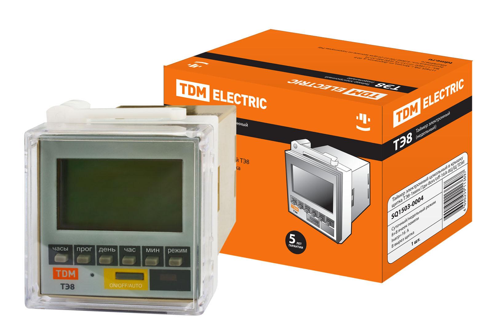 Таймер электронный цокольный в крышку щитка ТЭ8-1мин/7дн-8on/off-16А-8Ц/Щ TDM SQ1503-0004 TDM Electric