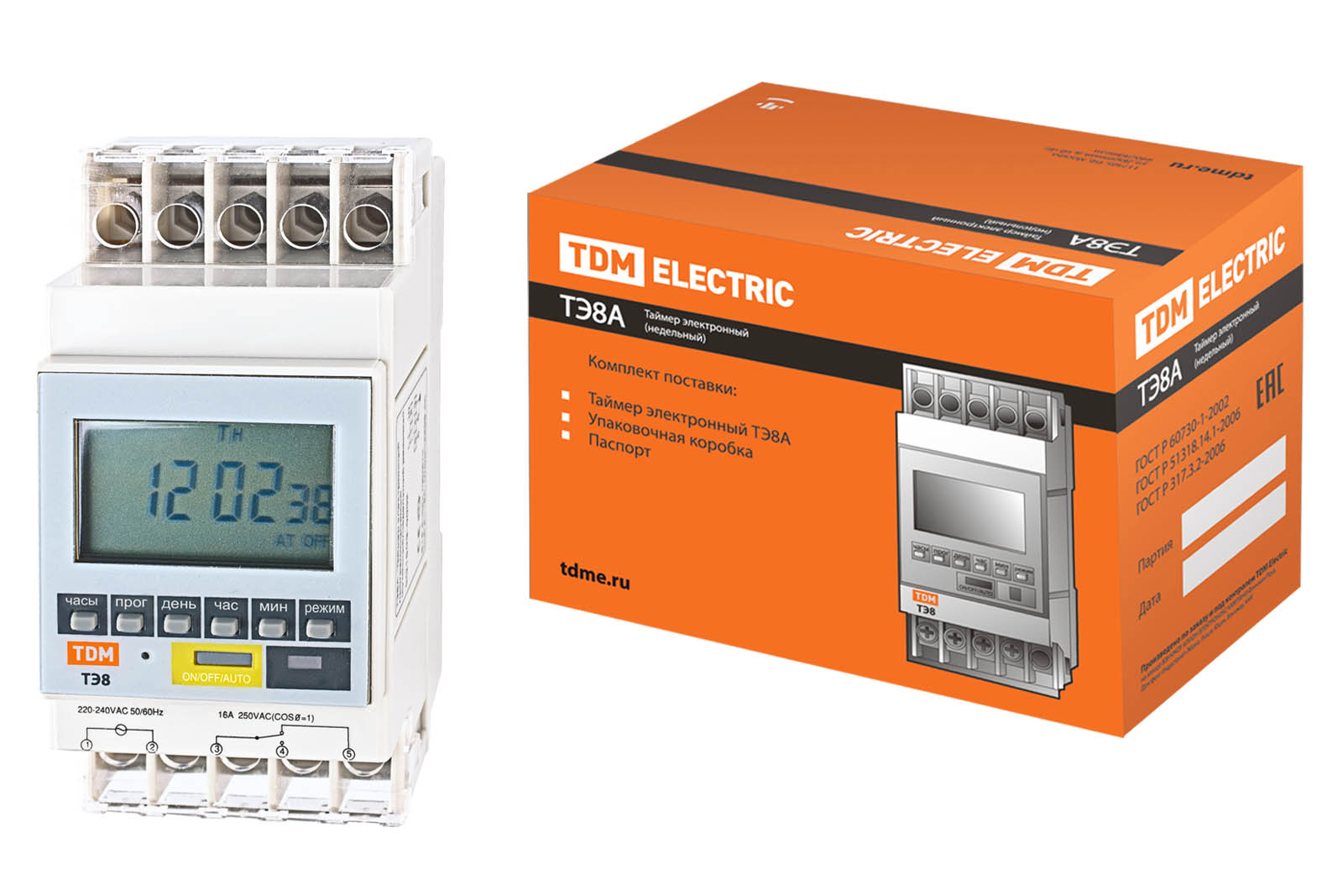 Таймер электронный на din-рейку ТЭ8A-1мин/7дн-8on/off-16А-DIN TDM SQ1503-0002 TDM Electric