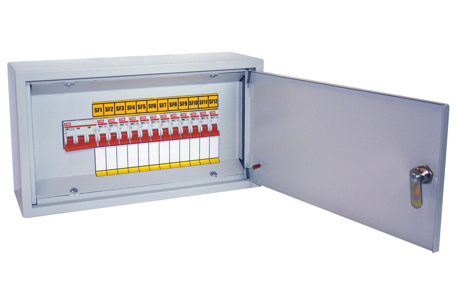 Осветительный щиток с выключателем ОЩВ-12 (63А/16А) 220х400х120мм TDM SQ1604-0002 TDM Electric