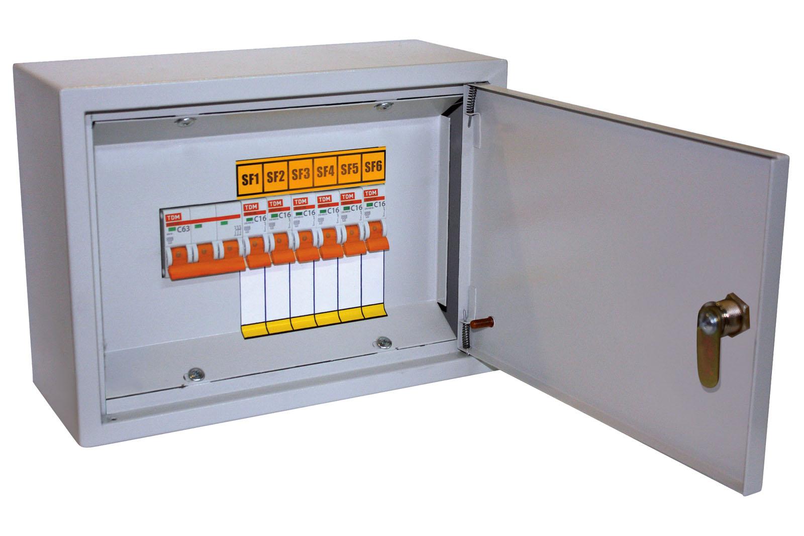 Осветительный щиток с выключателем ОЩВ-6 (63А/16А) 220х300х120мм TDM SQ1604-0001 TDM Electric