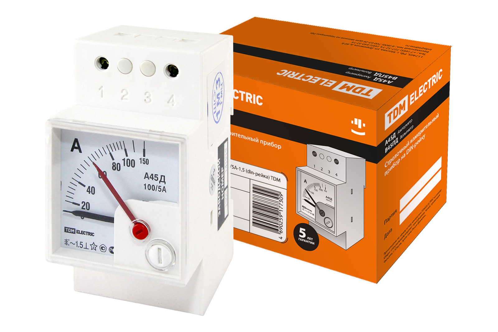 Амперметр А45Д 100/5А-1,5 (din-рейка) TDM SQ1102-0301 TDM Electric
