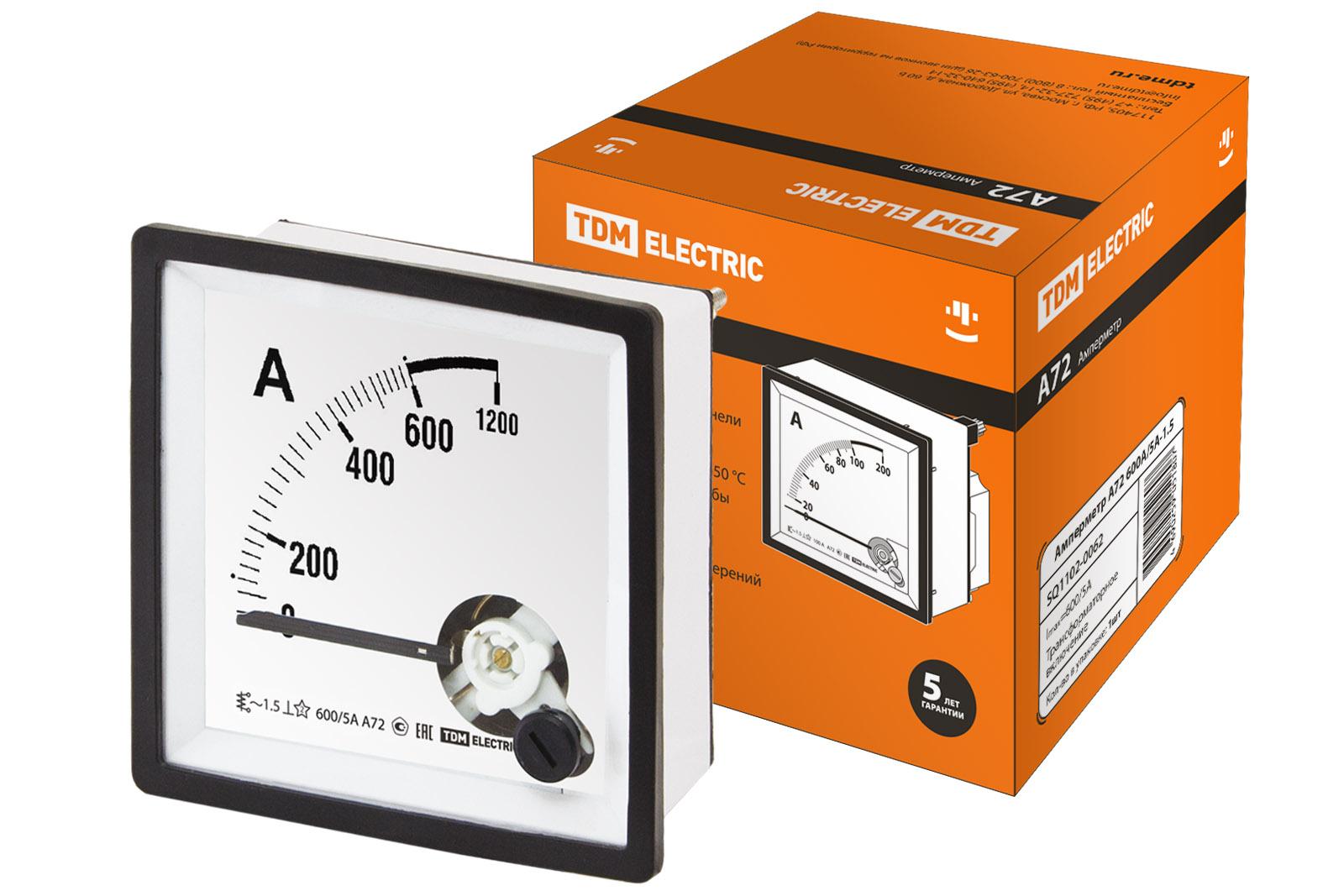 Амперметр А72 600А/5А-1.5 TDM SQ1102-0062 TDM Electric