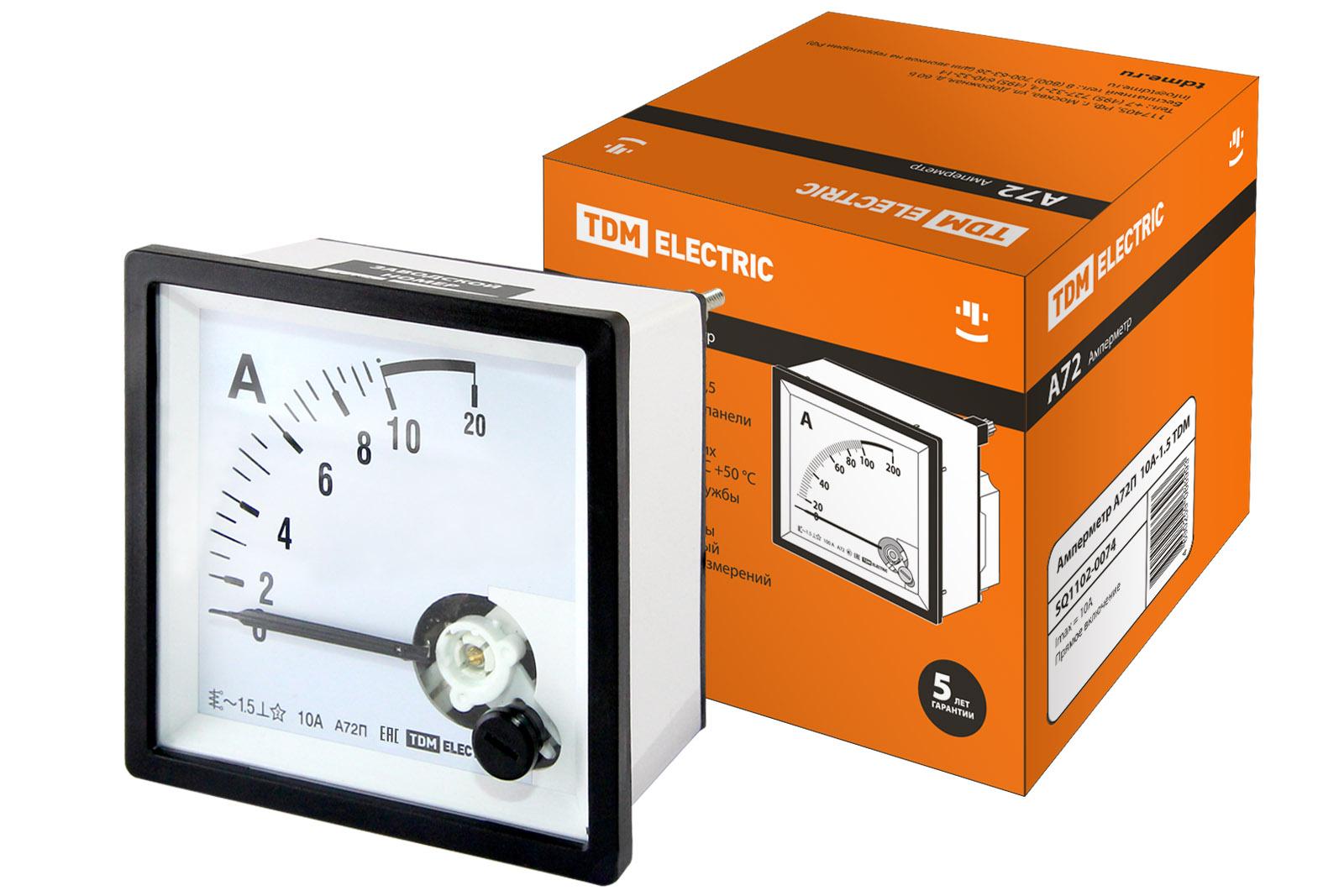 Амперметр А72П 10А-1.5 TDM SQ1102-0074 TDM Electric