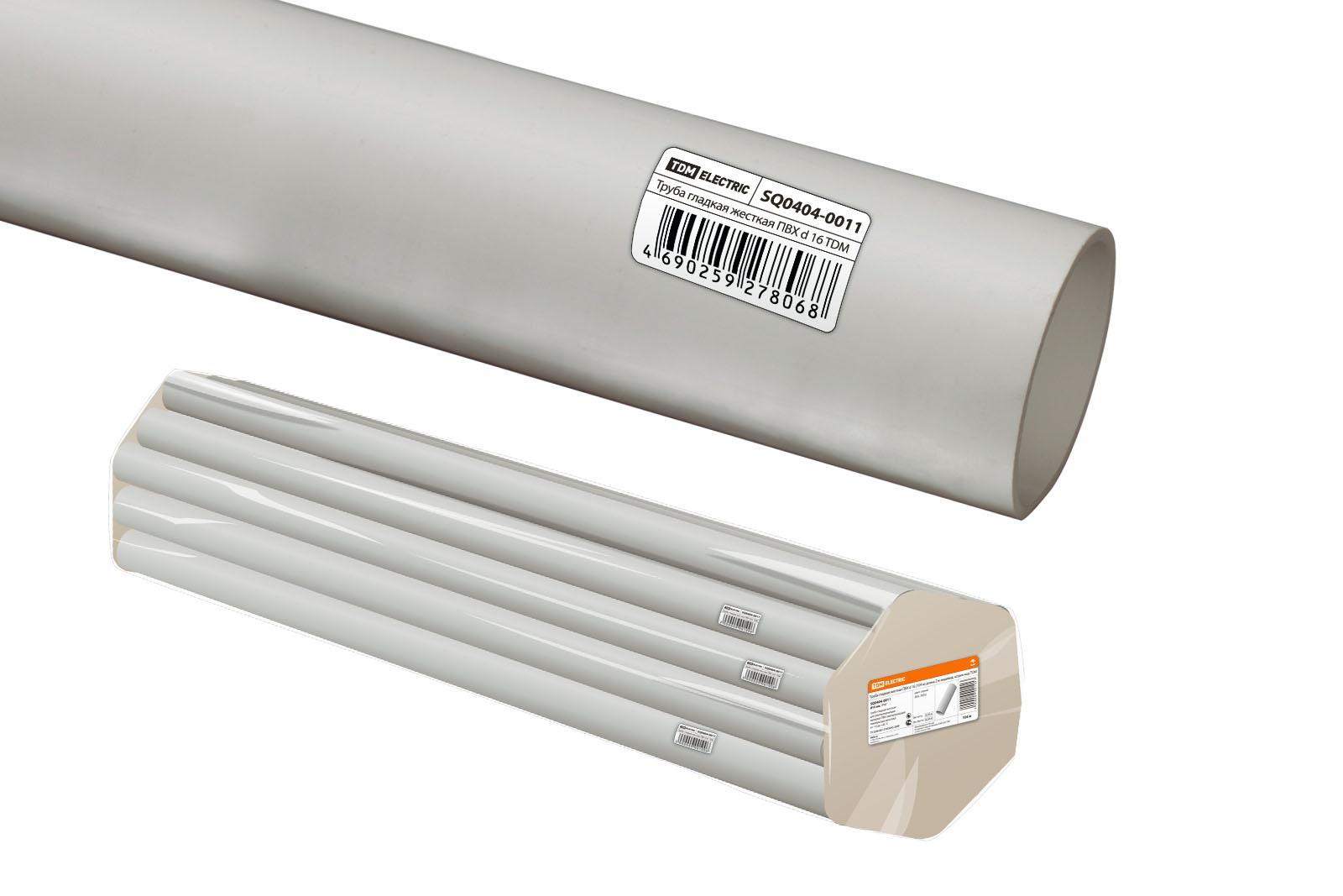 Труба гладкая жесткая ПВХ d 16 (104 м) длина 2 м индивид. штрихкод TDM SQ0404-0011 TDM Electric