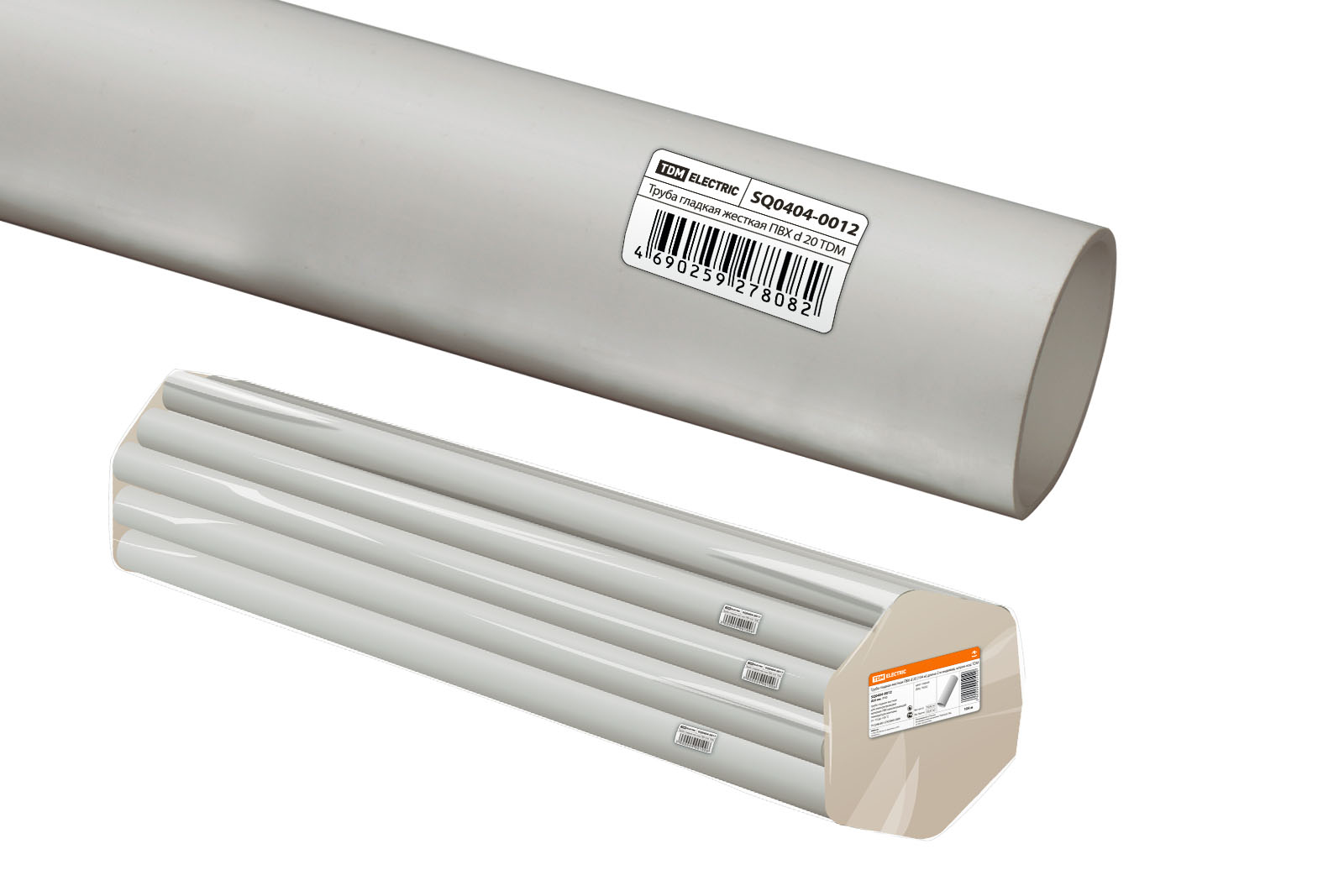Труба гладкая жесткая ПВХ d 20 (104 м) длина 2 м индивид. штрихкод TDM SQ0404-0012 TDM Electric