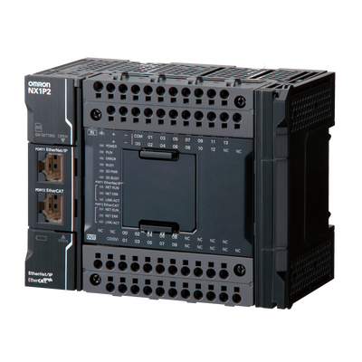 NX1P2-9024DT Контроллер NX1P,  1,5 Мб памяти программ, 2 Мб памяти данных, 14 вх/10 вых (NPN), до 8 модулей NX, без управления движением (до 4 осей PtP), 1 x EtherNet/IP, 1xEtherCAT, 1 x слот для карты SD, 1 опц. порт, питание 24 В= 672509 Omron